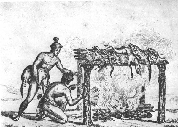Jacques de la Moyne's Illustration of Native American cooking technique