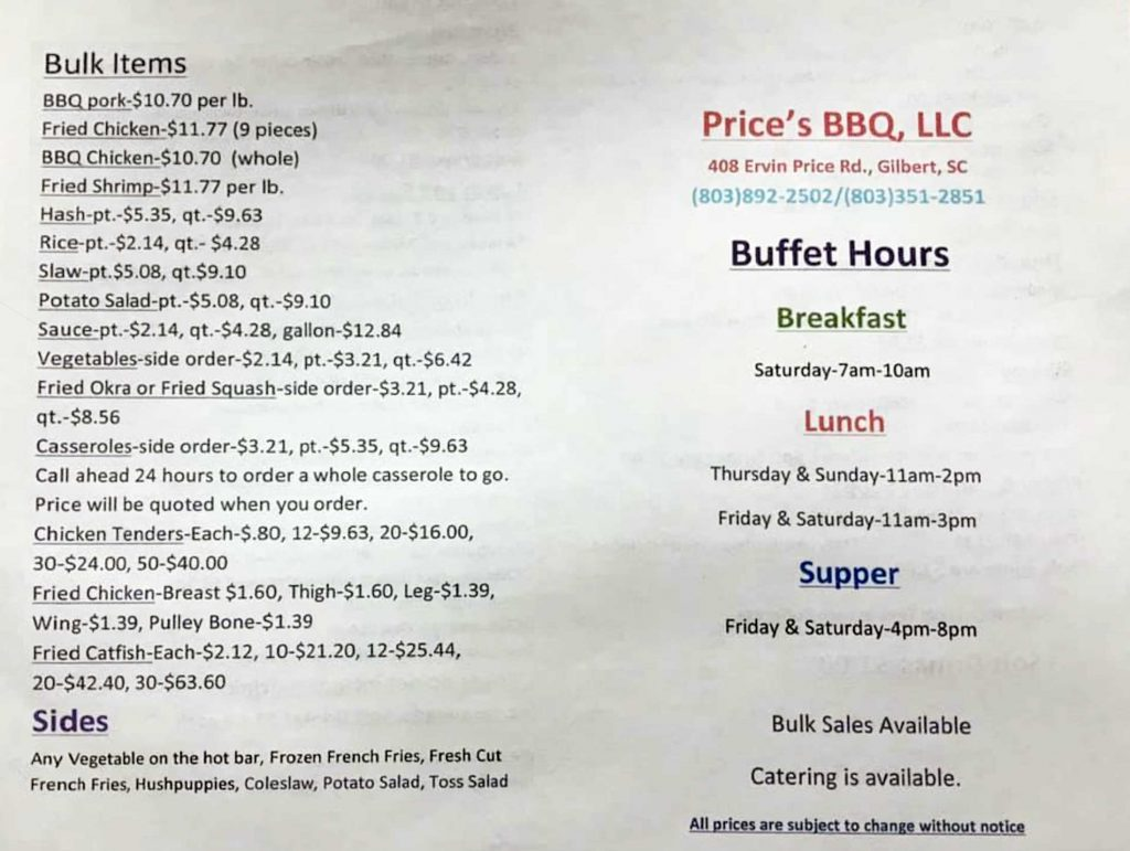Menu 2 for Price's Bar-B-Que in Gilbert