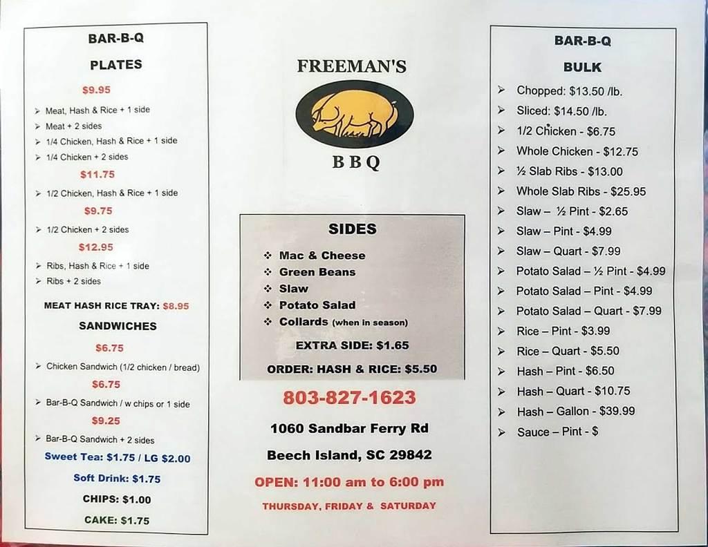Menu for Freeman's Bar-B-Que in Beech Island