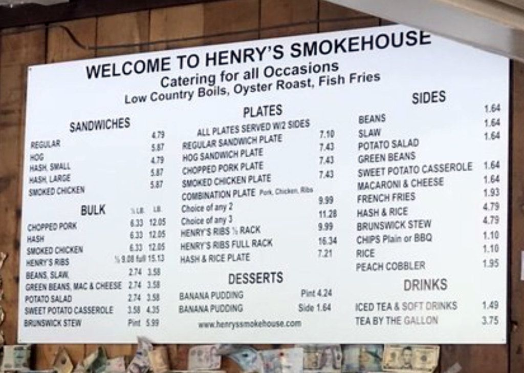 Menu for Henry's Smokehouse in Simpsonville