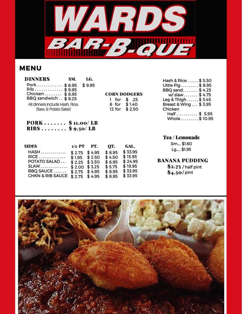 Menu for Ward's Bar-B-Que in Sumter