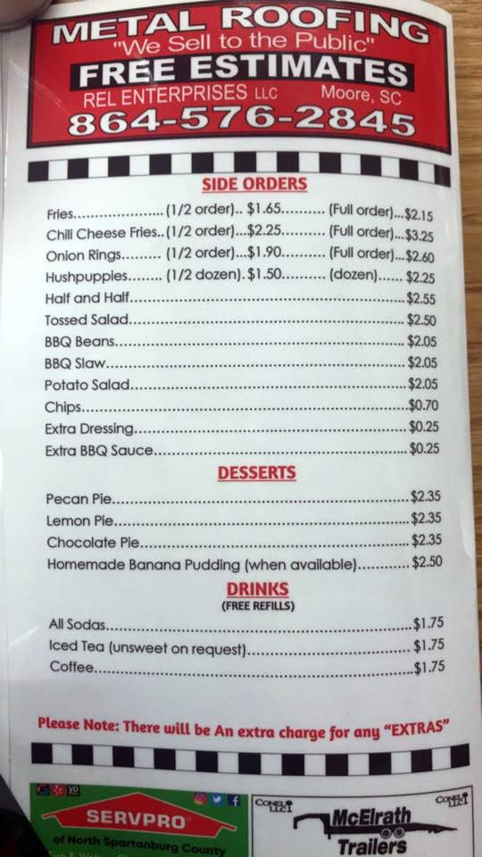 Southern Barbeque of Spartanburg Menu 4