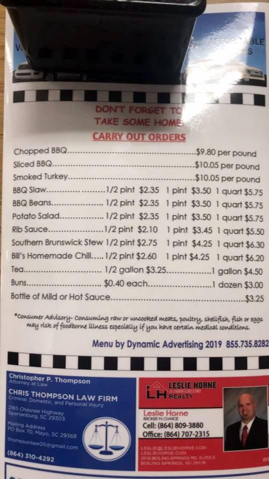 Southern Barbeque of Spartanburg Menu 5