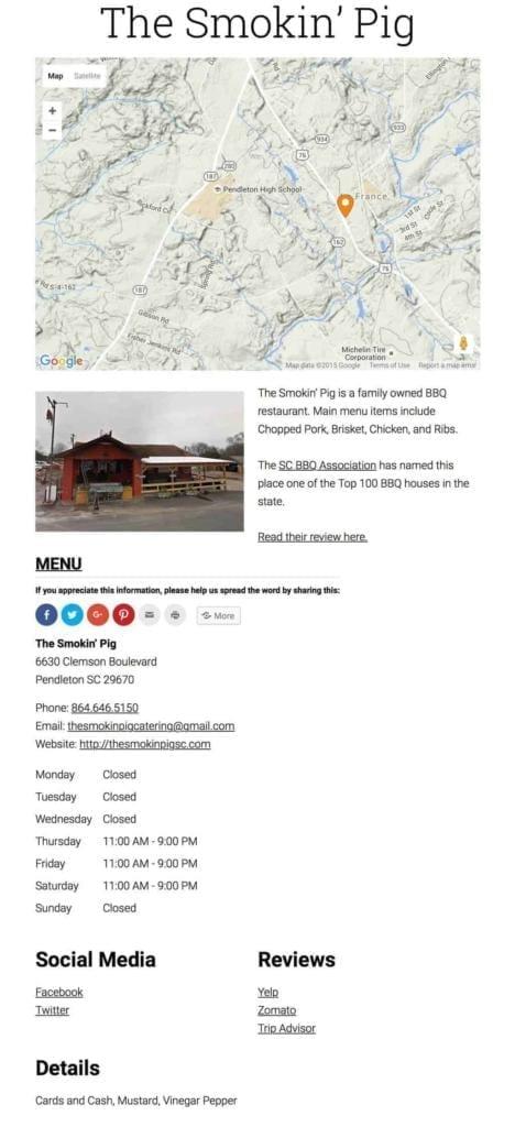 Store Page Smoking Pig Pendleton SC