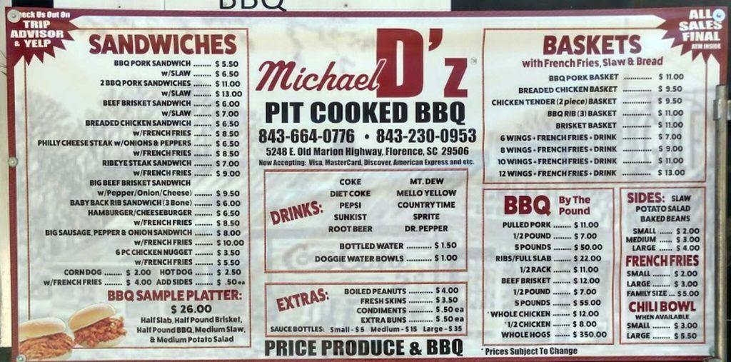 Menu for D'z Pit BBQ near Florence, SC