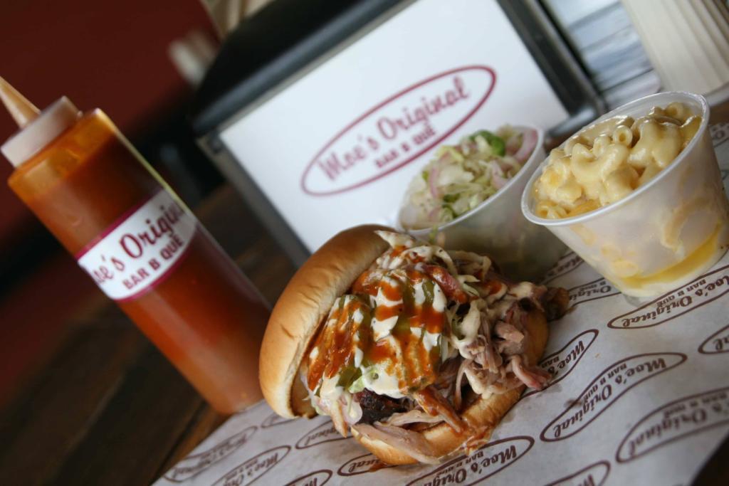 Moe's Original BBQ Bama style pulled pork sandwich