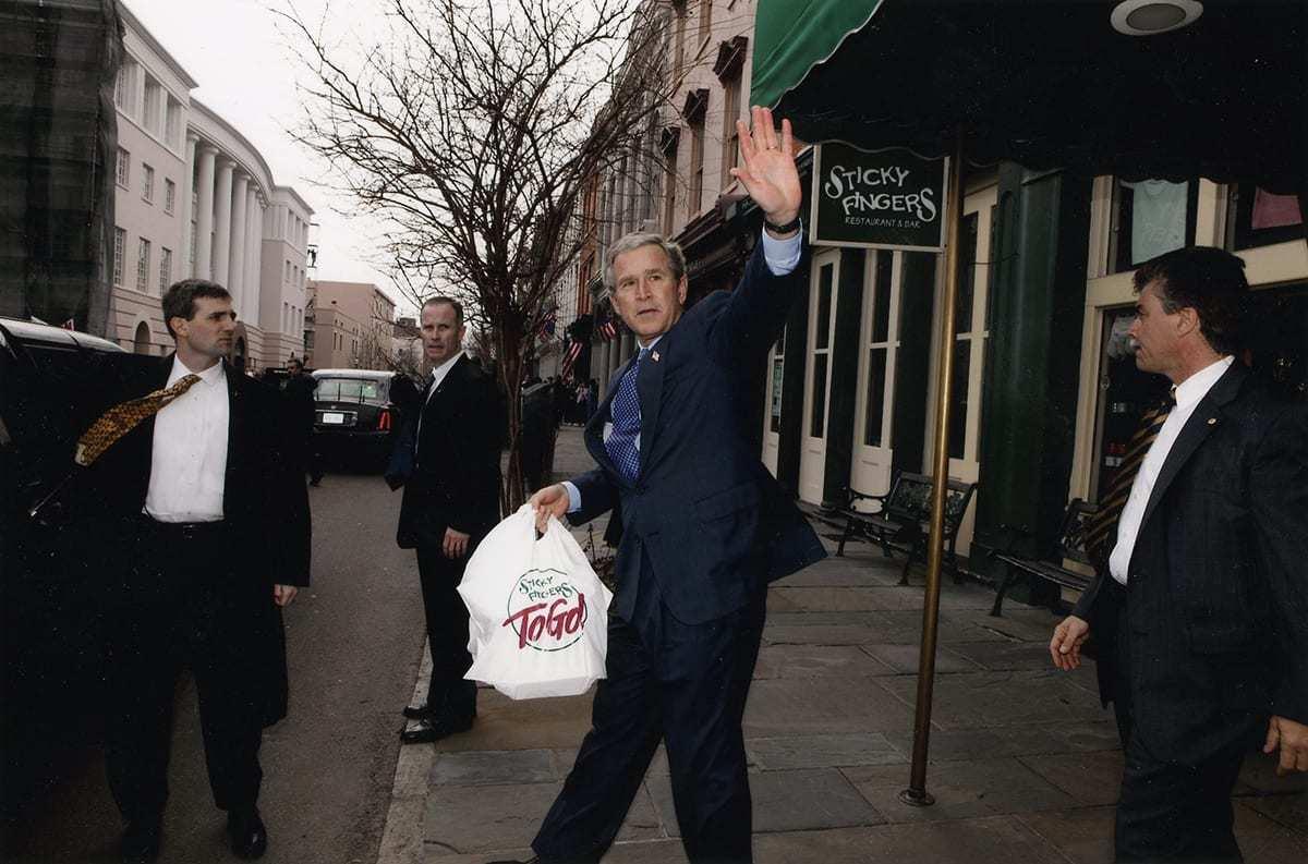 President George W. Bush gets Sticky Fingers to go.