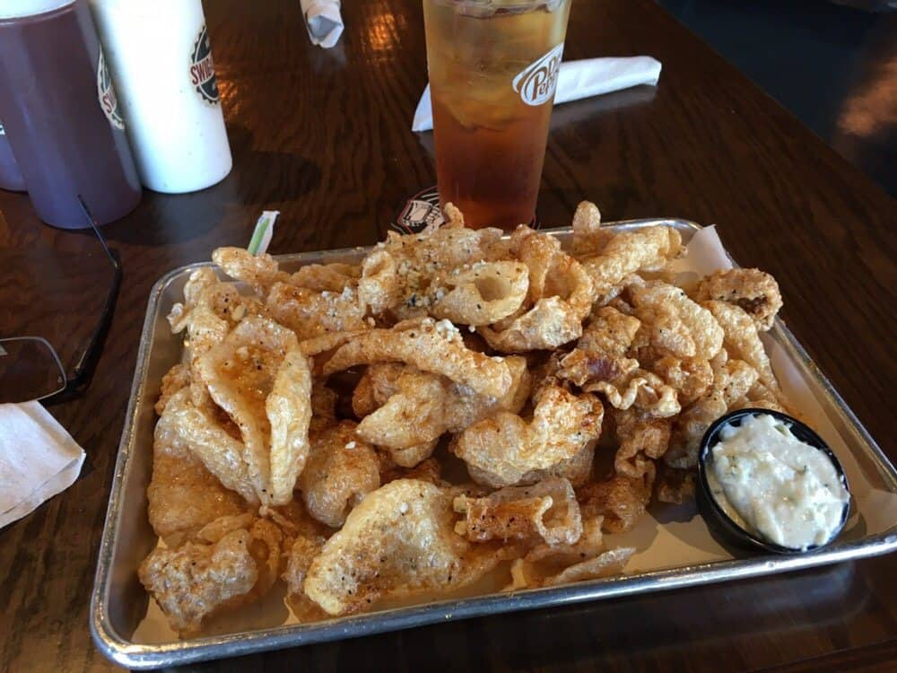 Pork Rind Recipe from Swig & Swine with Tabasco Honey & Blue Cheese