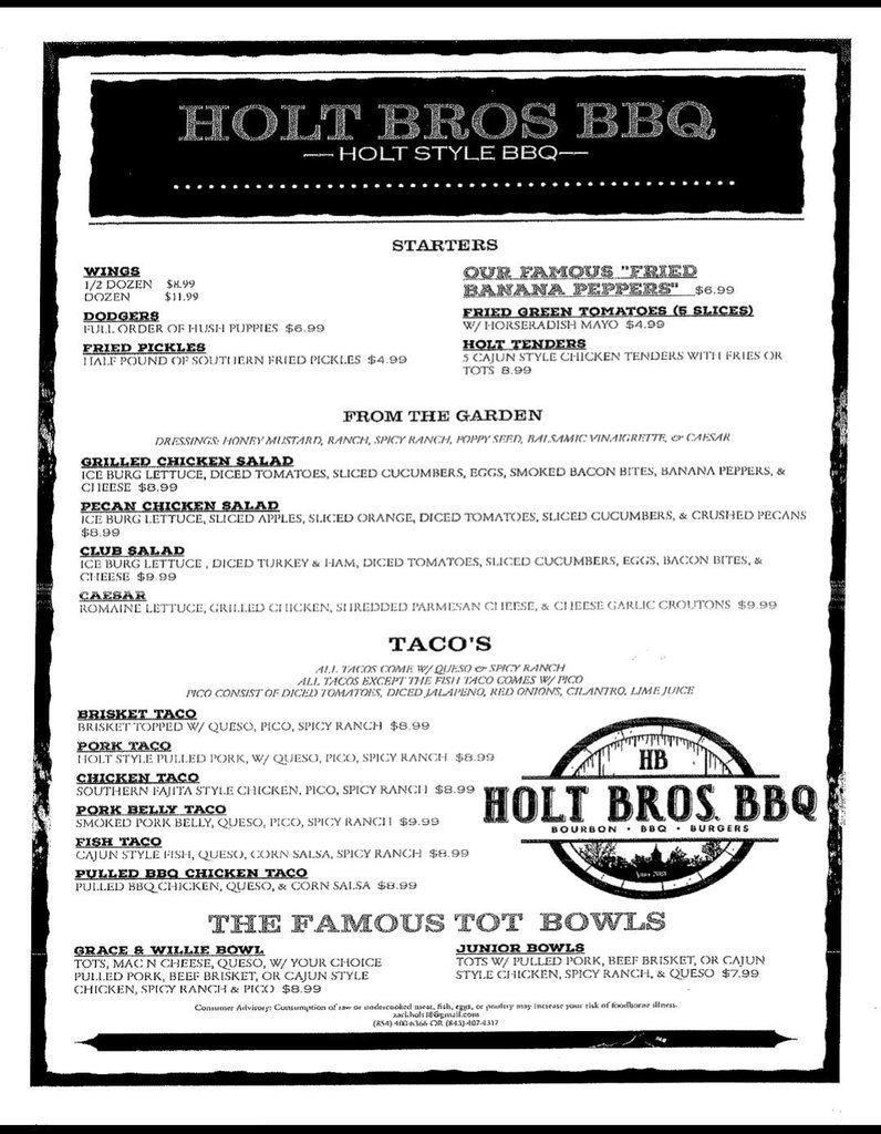 Holt Bros BBQ in Florence Menu 1