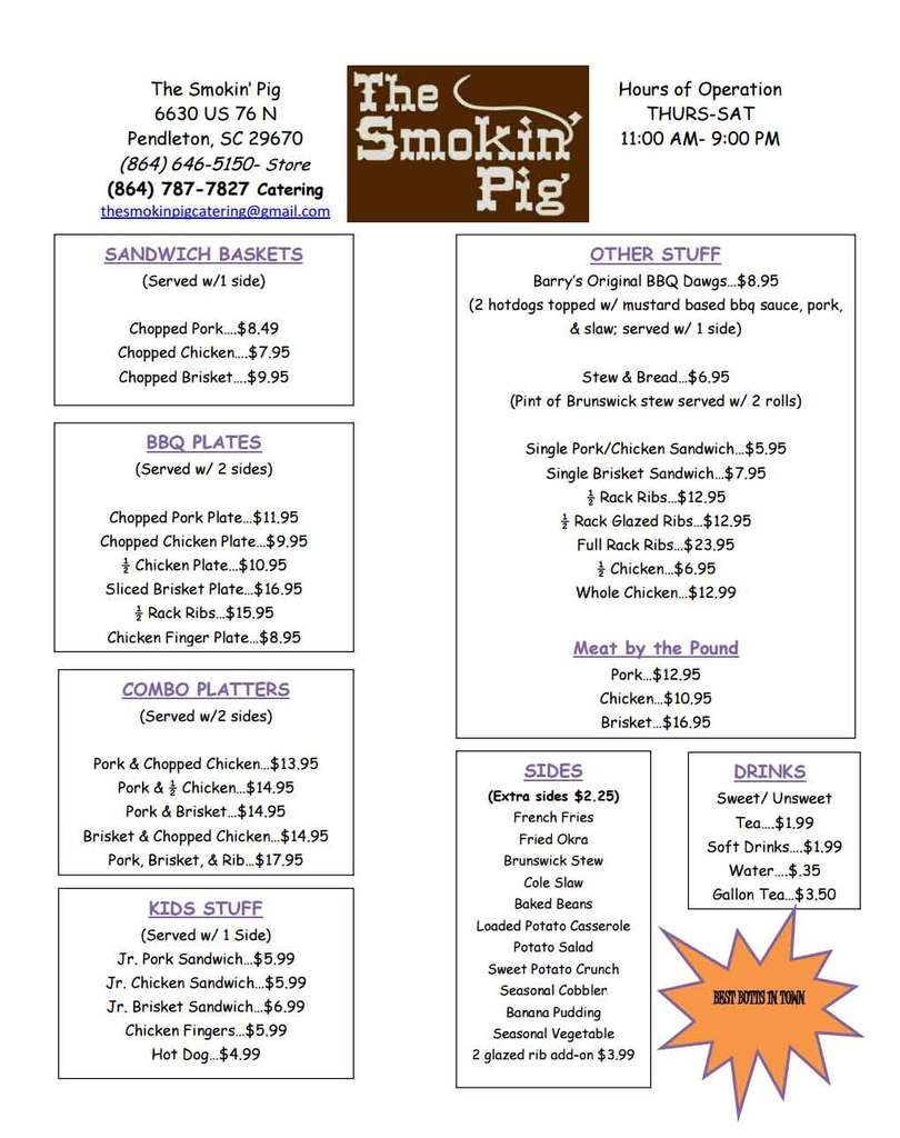 The Smokin' Pig's Menu