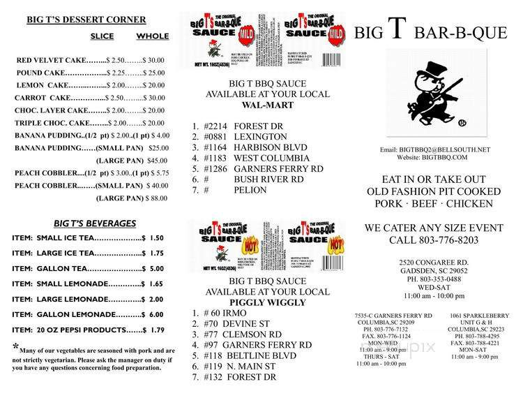 Menu for Big T's Bar-B-Que on Garners Ferry