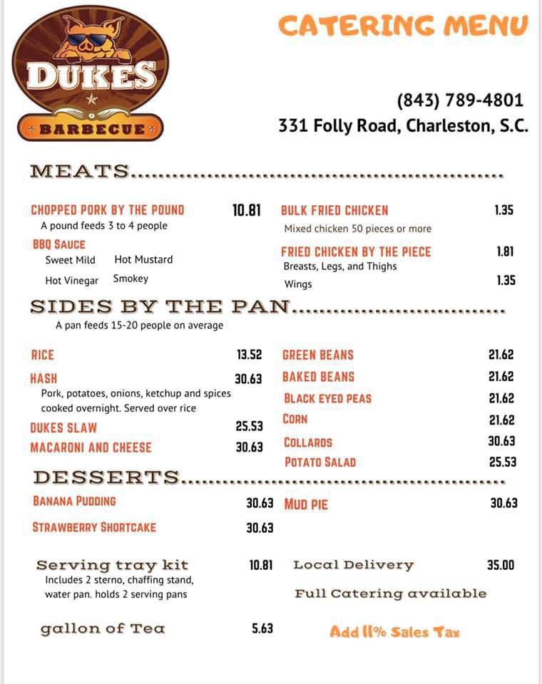 Catering Menu for Dukes Barbecue on James Island