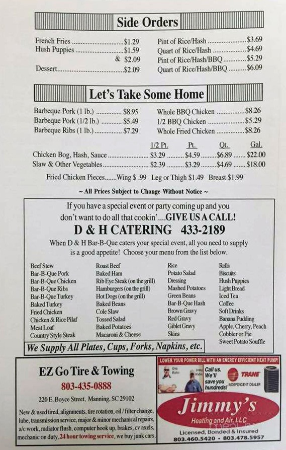 D&H Bar-B-Que Menu 2