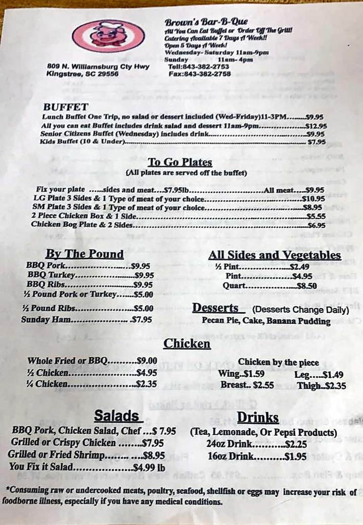 Menu 1 for Brown's Bar-B-Q in Kingstree