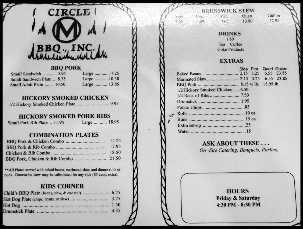 Menu for Circle M BBQ in Liberty