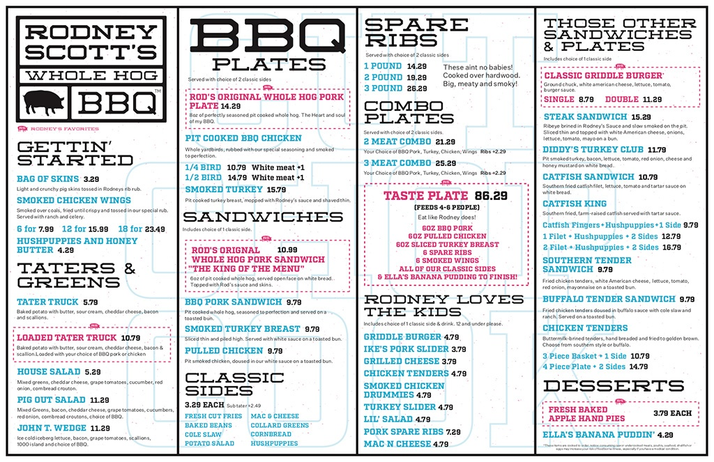Menu for Rodney Scott's BBQ in Charleston