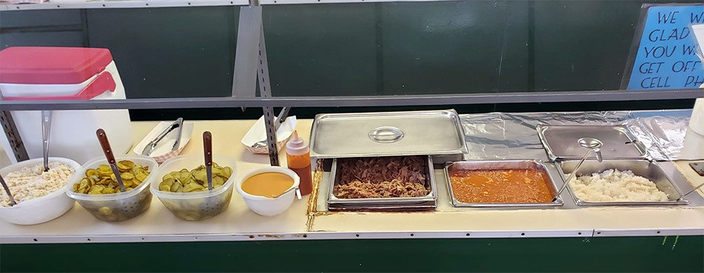 Buffet options at Dukes Bar-B-Que on Spruill Ave.
