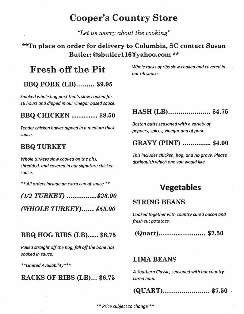 Menu 1 for Coopers Country Store in Salters