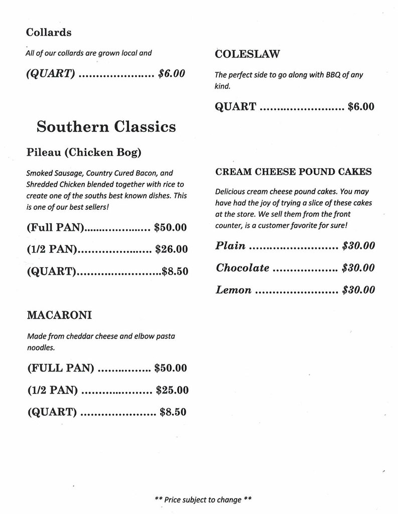 Menu 2 for Coopers Country Store in Salters