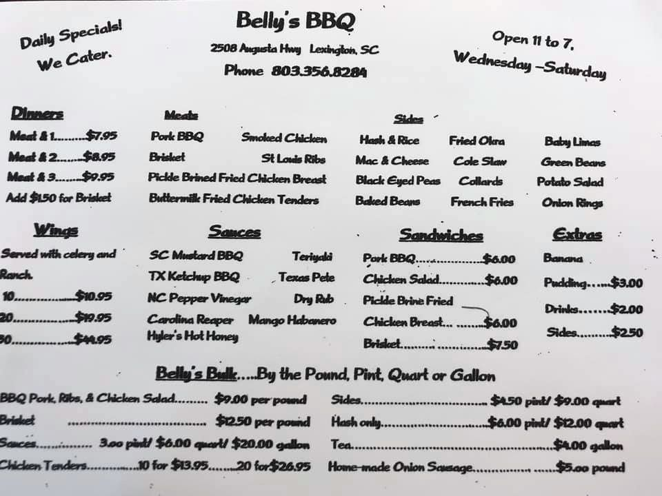 Printed Menu for Belly's Southern Pride Bar-B-Que