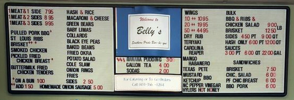 Menu for Belly's Southern Pride Bar-B-Que