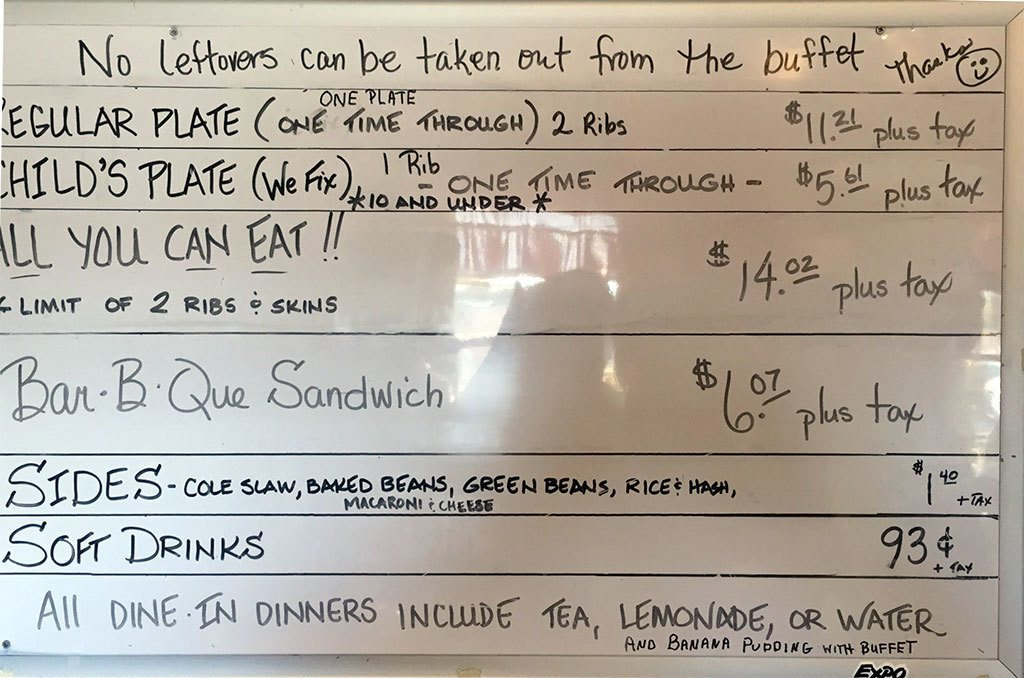 Menu for Sweatman's Bar-B-Que