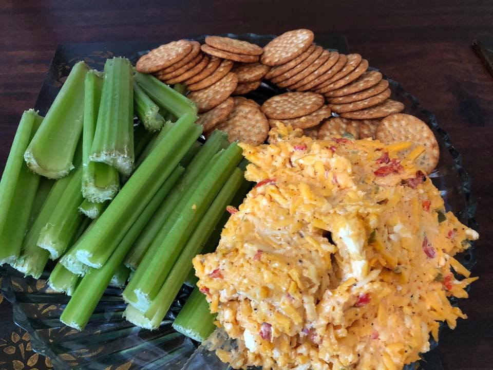 Homemade Pimento Cheese, Celery, Crackers