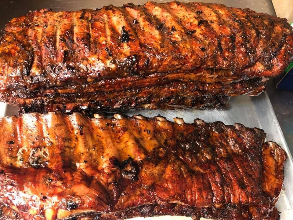 Stack of ribs at Rodney Coplin's Smokemaster BBQ