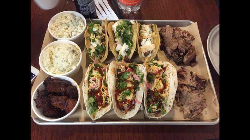 A tray of Rodney Coplin's Brisket Tacos