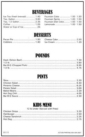 Menu for Holden's Ranch4