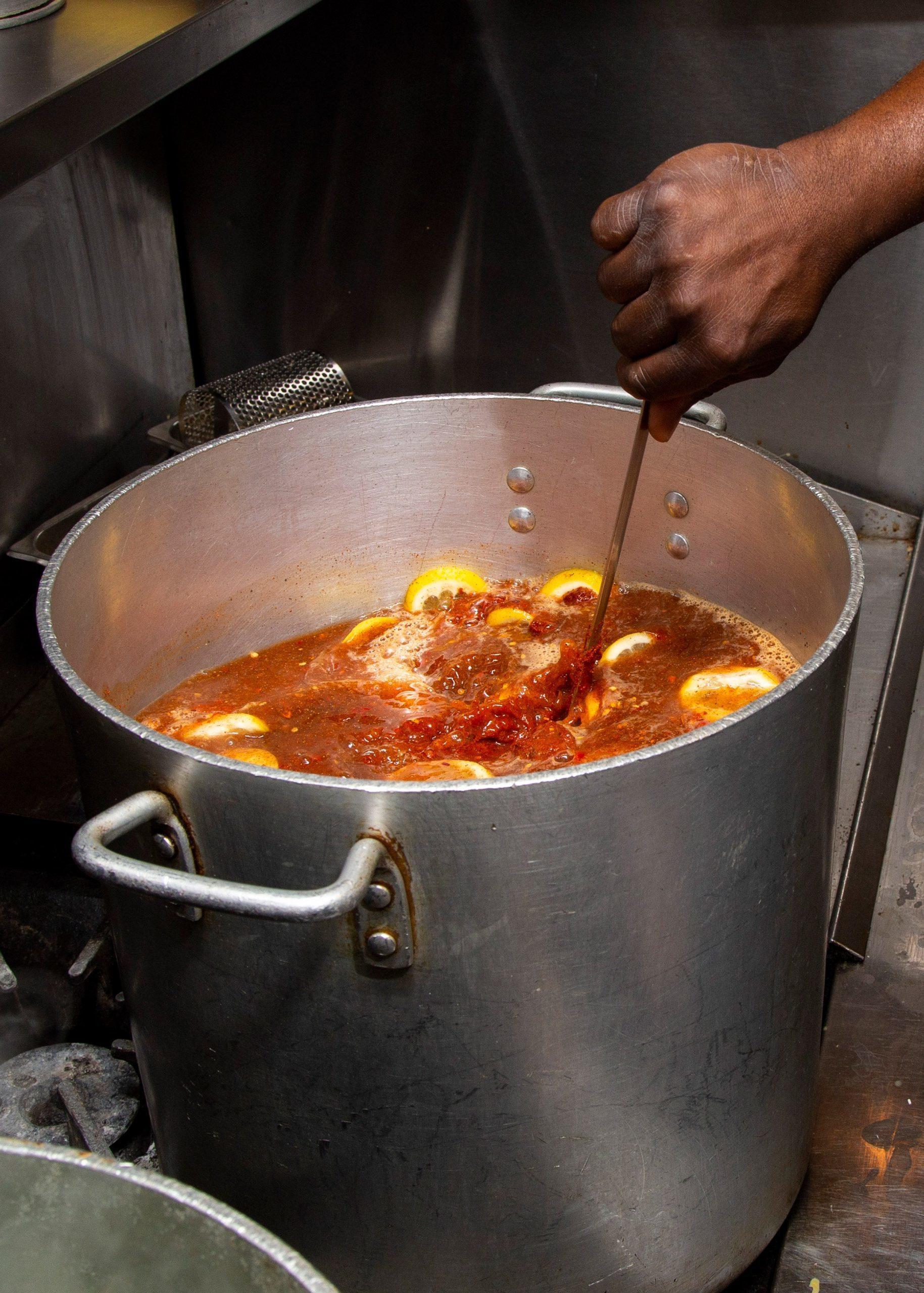 Rodney Scott's Barbecue Sauce Recipe Boiling on Stove