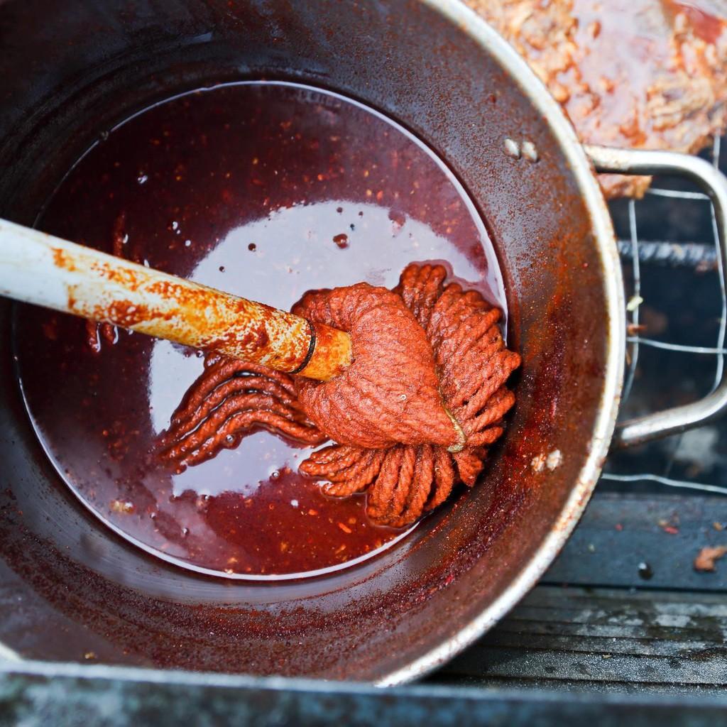 Mop in Pot of Rodney Scott's BBQ Sauce Recipe