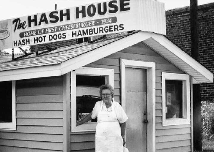 Miss Ruth standing in front of The Hash House in Greenwood.