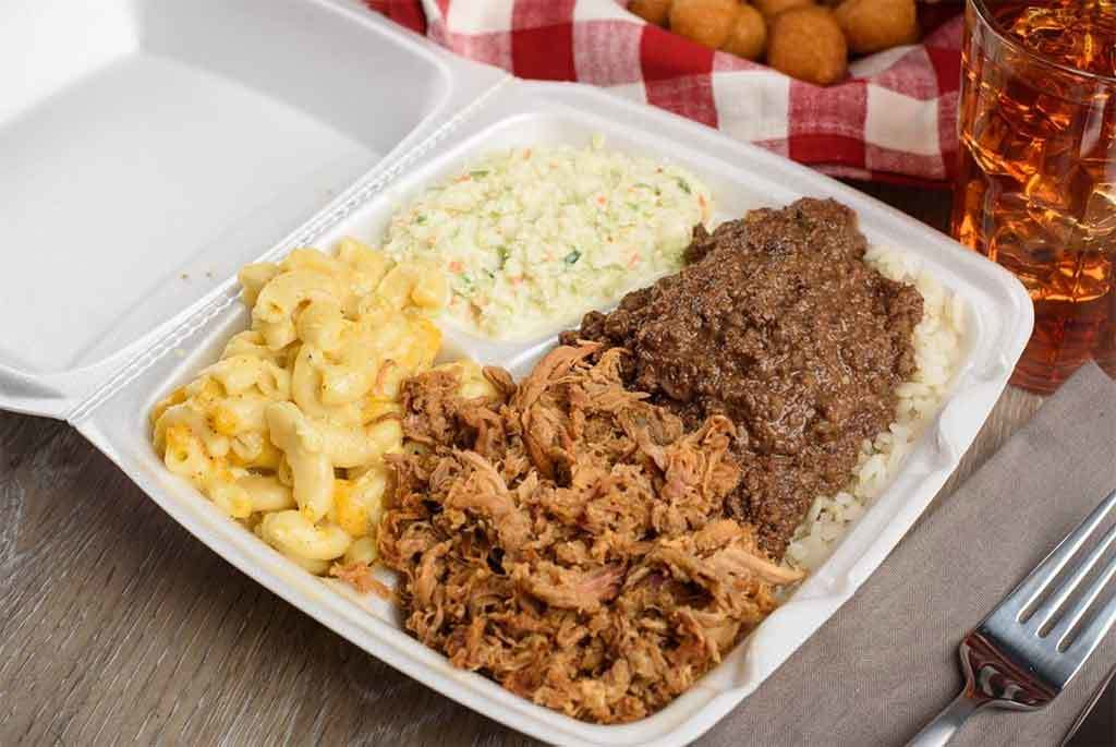 Pulled pork, liver hash, coleslaw, and Mac 'n cheese from Roger's in Florence.