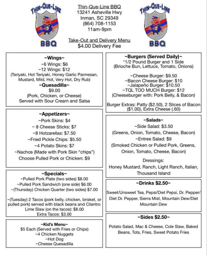 Menu for Thin-Que-Line BBQ in Inman