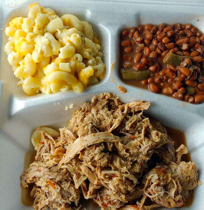 BBQ Plate with Mac n cheese and field peas from Cooper's Country Store.