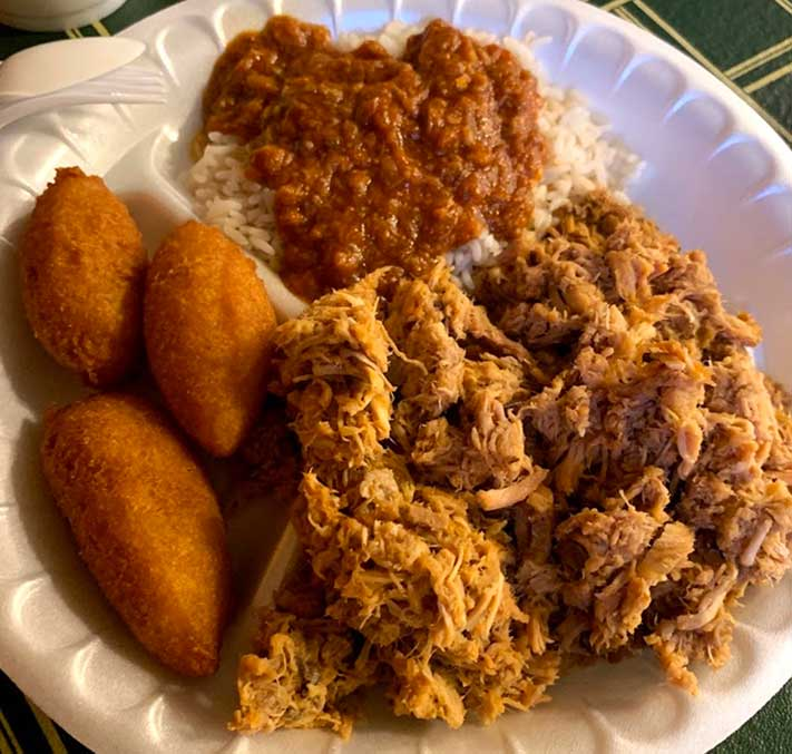 Corn Dodgers, SC BBQ Hash, and Pulled Pork from BBQ Hut Sumter