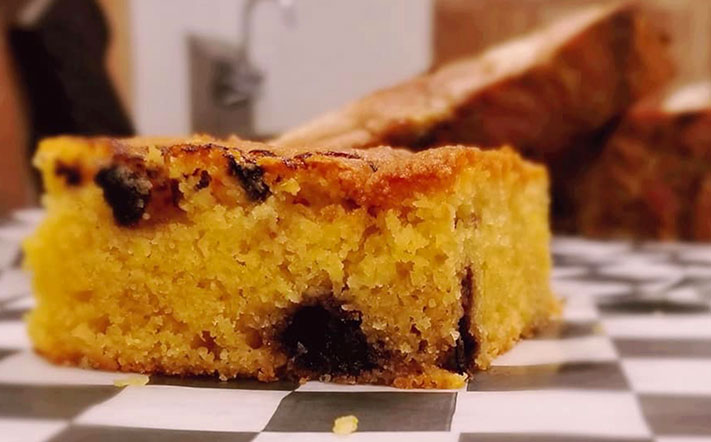 Closeup of a slice of Blueberry Cornbread from Slaughter House BBQ