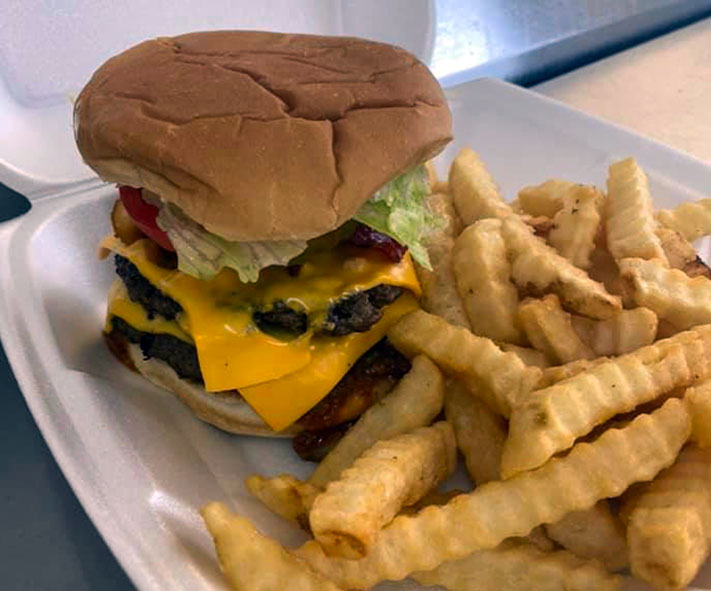 Double cheeseburger and fries