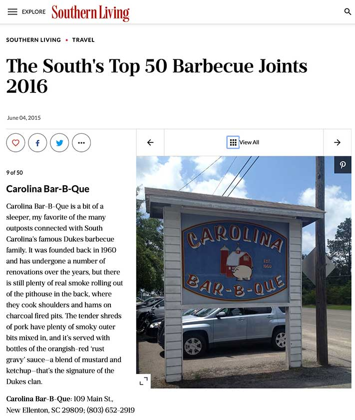 Carolina Bar-B-Que listed on Southern Living Top 50, screenshot of the website