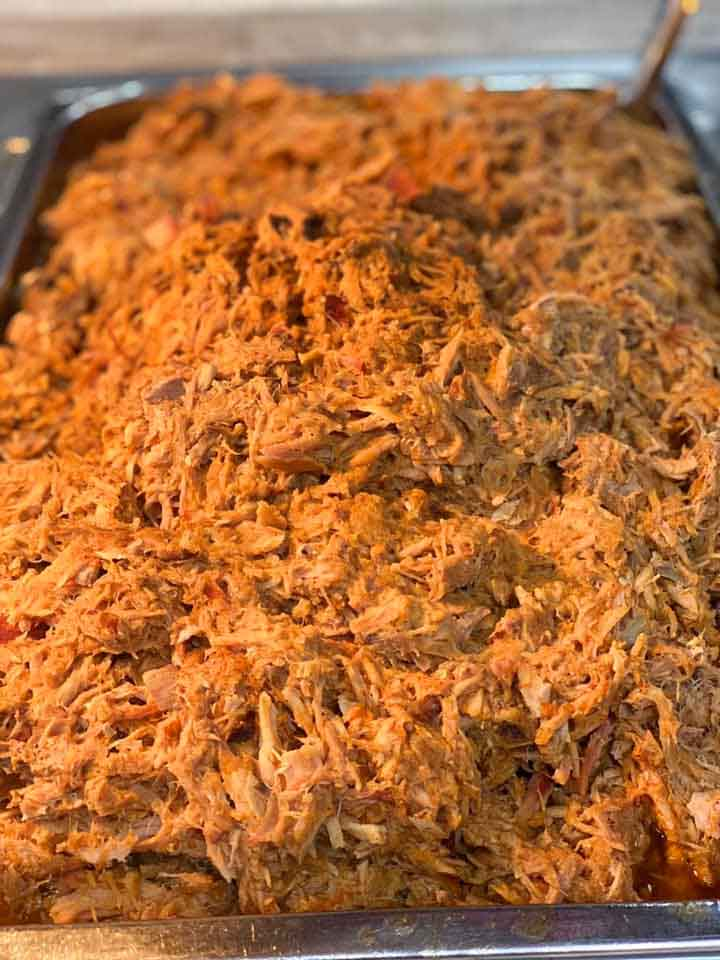 Finished Pan of Pulled Pork on Buffet Line at Roger's Bar-B-Q House