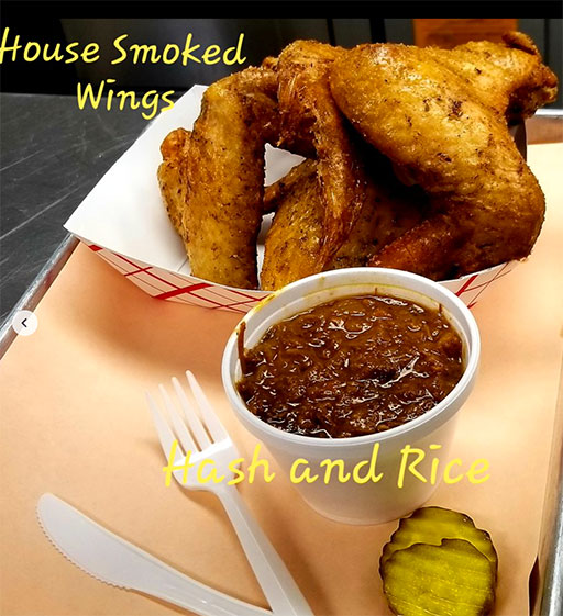 Hash and rice with wings and pickles at Slaughterhouse BBQ