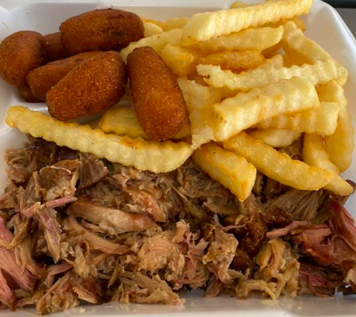 Pulled Pork Fries and Corn Nuggets from The Jiggy Pig