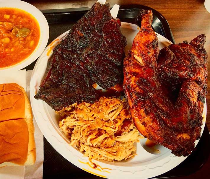 RIb Chicken Pulled and Pork Plate