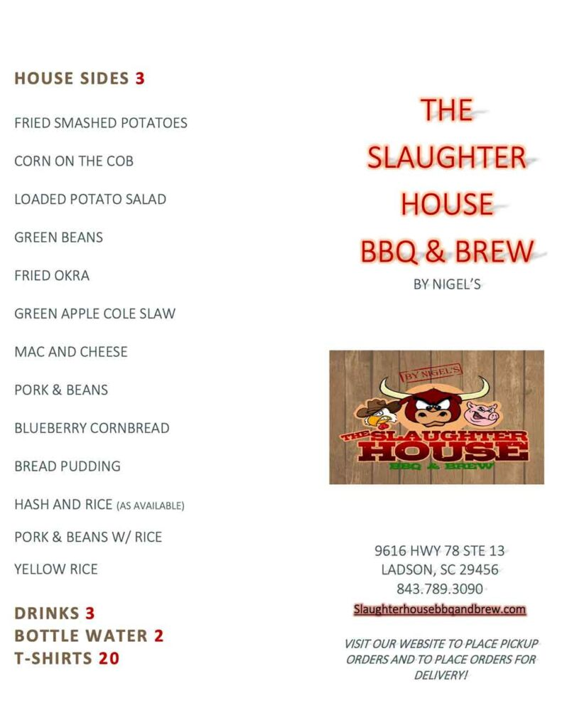 Slaughter House BBQ Menu 2