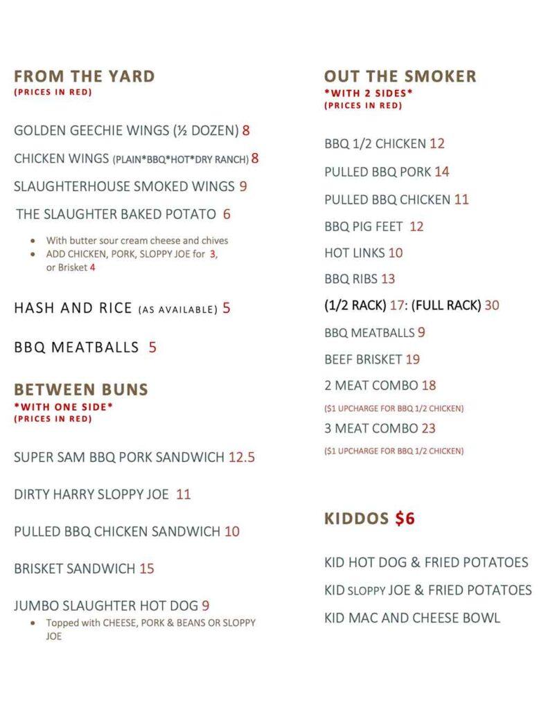 Slaughterhouse BBQ & Brew Menu 1