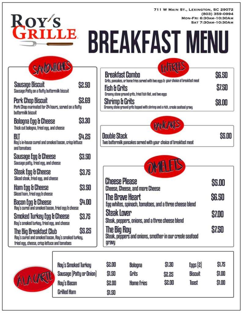 Roy's Grille breakfast menu