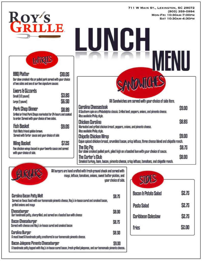 Roy's Grille Lunch and Dinner menu