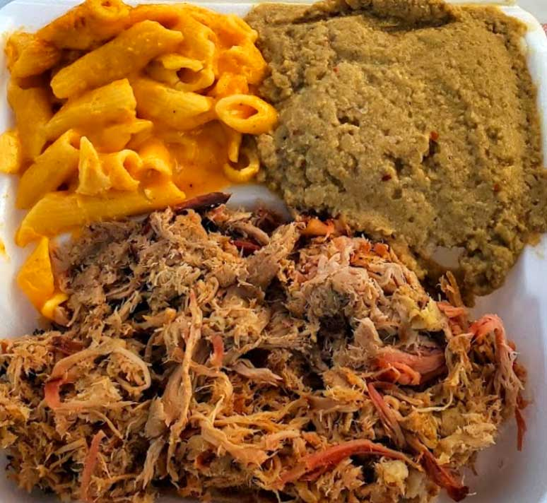 Pulled pork and hash with Mac 'n  cheese from Doko Smoke in Blythewood.