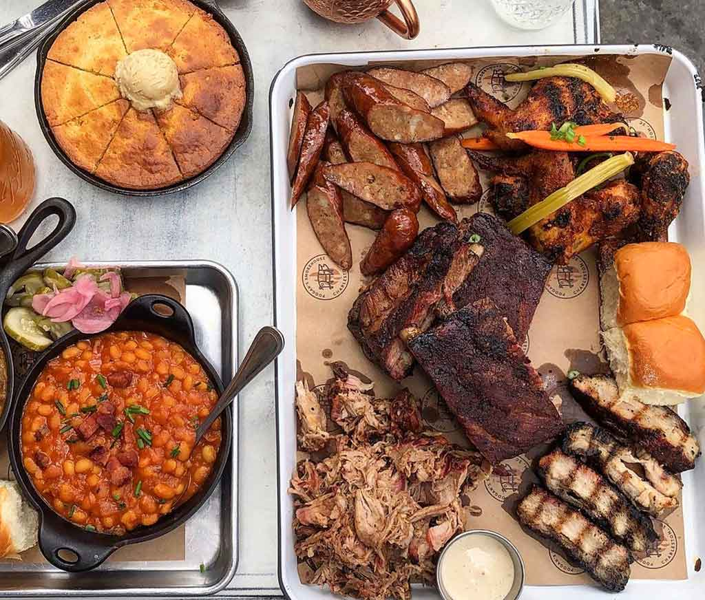 Various smoked meats and sides from Poogan's Smokehouse